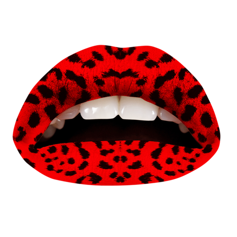 Temporary Lip Tattoos - Red Leopard