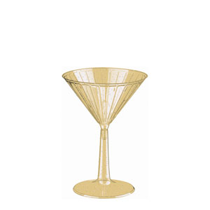 Gold Glitter Martini Glasses- 6oz. 8ct