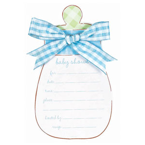 Baby Bottle Novelty Invitation Cards - Blue