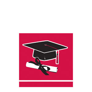 Grad Beverage Napkins - Red