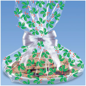 Holly Cookie Bags- 6ct