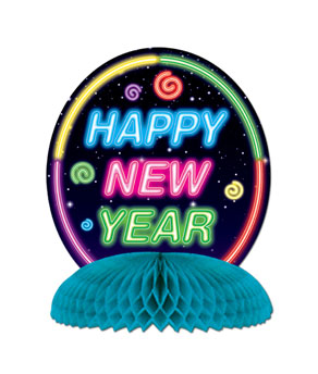 Neon Happy New Year Centerpiece - 10in