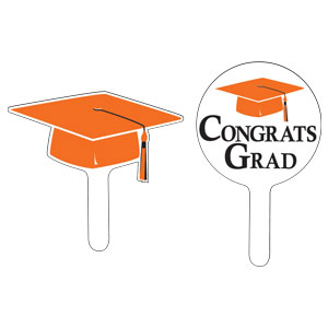 Grad Cap Cupcake Pick - Orange