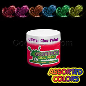 Glominex Glitter Glow Paint 2 oz Jars - Assorted