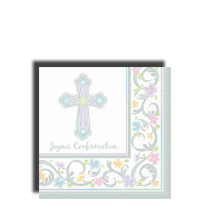 Blessed Day Confirmation Beverage Napkins- 36ct