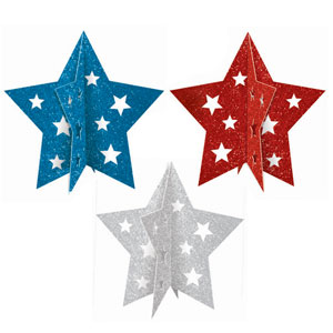 Patriotic 3D Star Centerpiece - Assorted 3ct
