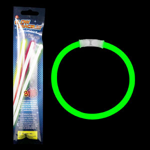 8 Inch Retail Packaged Glow Bracelets - Green