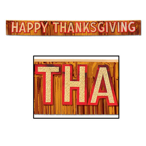 Metallic Happy Thanksgiving Banner - 9 feet 6 inches