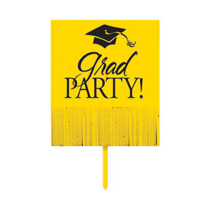 Grad Fringe Yard Sign - Yellow