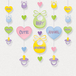 Baby Shower Hanging Shapes - 36 Inch 5ct
