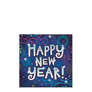 New Year Midnight Festivities Beverage Napkins- 36ct