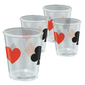 Casino Cardsuit Shot Glass Set- 4ct