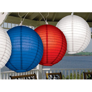 Red White Blue Round Lantern Light Set - 11ft