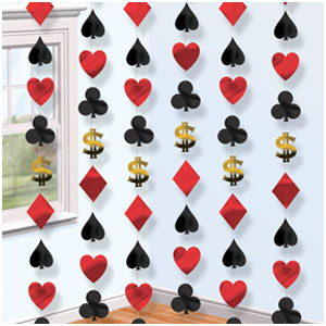Casino 7 Foot String Decorations- 6ct