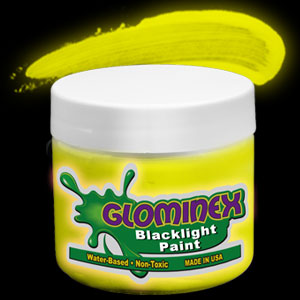 Glominex Blacklight UV Reactive Paint 8 oz Jar - Yellow