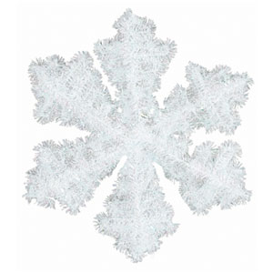 Snowflake Tinsel Wreath- 16 Inch