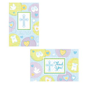 Sweet Christening Blue Invitation and Thank You Card Set- 16ct