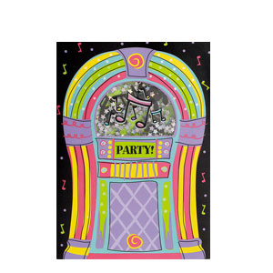 Jukebox Rock Shaker Invitations- 8ct