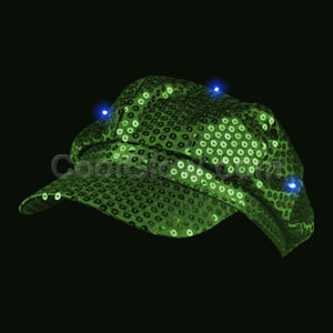 LED Sequin Newsboy Hat - Green