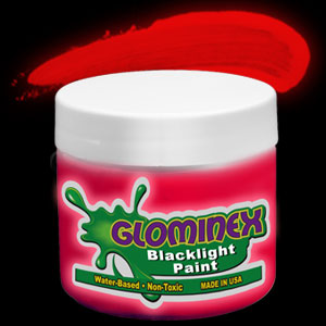 Glominex™ Blacklight UV Reactive Paint 8 oz Jar - Red
