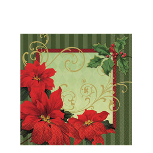 Vintage Poinsettia Luncheon Napkins
