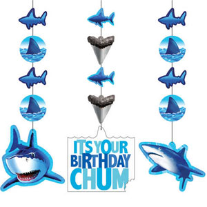 Shark Splash Hanging Cutouts- 3ct
