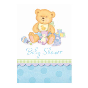 Precious Blue Bear Invitations - 8ct