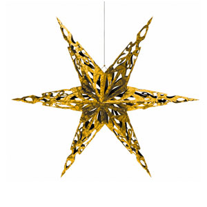 Gold Holiday Paper Star- 2ct