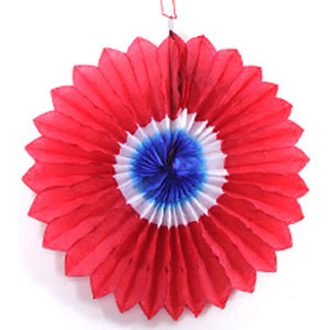 Patriotic Burst Paper Fan - 12 Inch