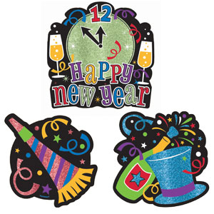 New Year Glitter Cutouts- 12ct
