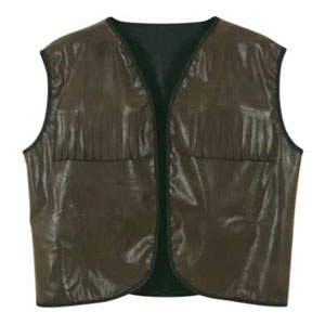 Fauz Brown Leather Cowboy Vest W Fringe