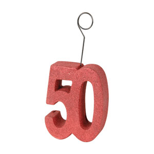 50th Red Glittered Balloon Holder