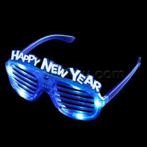 LED New Year Shutter Slotted Shades - Blue