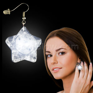 LED Star Earrings - White