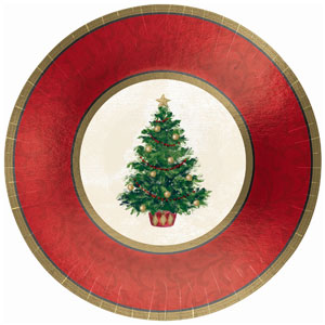Classic Christmas Tree 12 Inch Metallic Plates