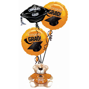 Orange Grad Bear Balloon Bouquets- 4pc