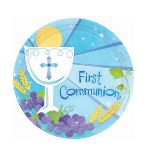 First Communion Blue 10 Inch Plates- 18ct