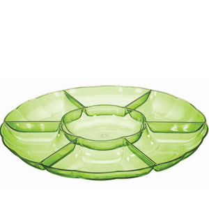 Chip and Dip 16 Inch Tray - Green