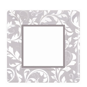 Silver Elegant Scroll 10 Inch Square Metallic Plates- 8ct