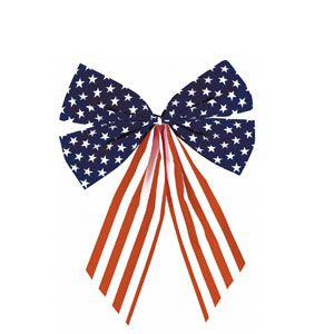 Stars Stripes Fabric Flag Bow - 17.5in