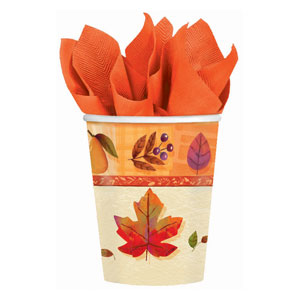 Watercolor Leaves 9 oz. Cups