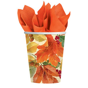 Elegant Leaves 9oz. Cups