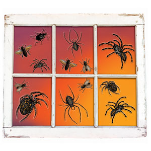 Glitter Spider Vinyl Window Decoration- 16ct