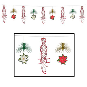 Poinsettia Shimmer Garland - 10ft