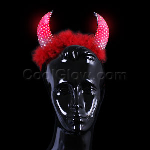 LED Devil Horns with Fur