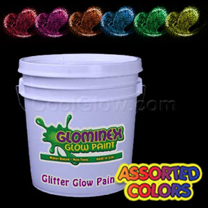 Glominex™ Glitter Glow Paint Assorted Gallons - 6