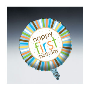 Sweet at One Balloon Boy First Birthday - Metallic
