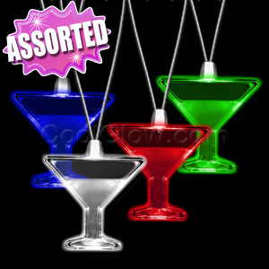 LED Pendant Necklace - Assorted Martini