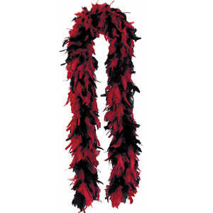 Red and Black Feather Boa- 6ft