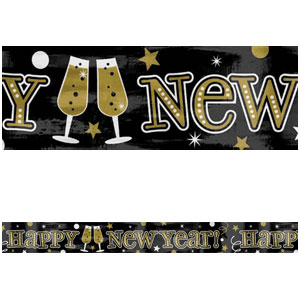 Foil New Years Banner - Black Gold & Silver 9ft